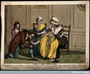 A women being treated by a chiropodist (corn doctor)
